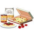 pizza and pasta scene vector image vector image
