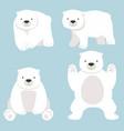 polar bear funny cartoon set