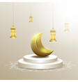ramadan kareem with moon and lantern background vector image vector image