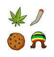 rasta icons set green leaf of marijuana and vector image vector image