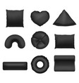 realistic detailed 3d black blank pillows template vector image vector image