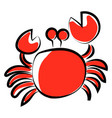 red crab on white background vector image vector image