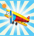red plane flying on bright sky vector image vector image
