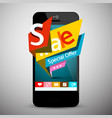 sale labels on mobile phone business application vector image vector image