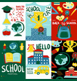 school posters banner set vector image