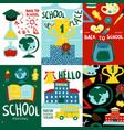 school posters banner set vector image vector image