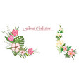set floral branch with flower and green leaves vector image vector image