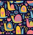 snails pattern dark vector image vector image