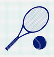 tennis racket and ball on noteboo vector image