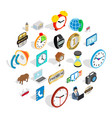 time period icons set isometric style vector image vector image