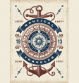 vintage nautical traveler typography vector image vector image