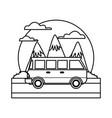 Vintage van vehicle between mountains landscape