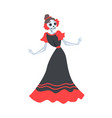 woman skeleton in mexican traditional black and vector image vector image