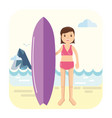 young surfer girl pose next to her surfboard vector image vector image