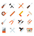 construction repair tools flat icon set vector image