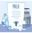 Different Milk products set on blue background vector image