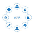 8 war icons vector image vector image