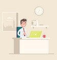 a man sits on the workplace at the office vector image vector image
