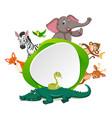 animal on green border vector image