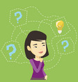 asian businesswoman thinking about business idea vector image vector image