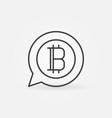 bitcoin in speech bubble line icon vector image vector image