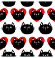 black cat head with red heart cute cartoon vector image vector image