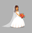 bride with flower bouquet vector image