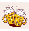 bright two beer mugs on yellow background vector image