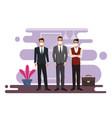 businessmen working and wearing medical masks vector image vector image
