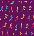 cartoon jogging characters people seamless pattern vector image