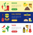 cartoon mexican culture banner horizontal set vector image
