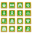 charity icons set green square vector image vector image