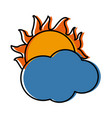 cloud with sun weather sky image vector image