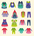 collection of childrens fashion clothing vector image vector image