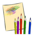 colored pencils on a sheet of paper vector image vector image