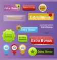 colorful website extra bonus buttons design vector image vector image