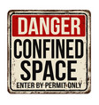 confined space vintage rusty metal sign vector image vector image