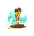 dancing girl in national costume vector image