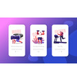 exercising mobile app page onboard screen template vector image vector image