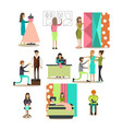 flat icons set of fashion model people vector image vector image