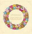 frame from the funny sweets fruit and ice cream vector image vector image