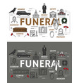 funeral service and burial ceremony icons vector image