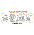 funny baby elephant four coloring book set vector image