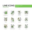 Gardening - line design icons set vector image vector image