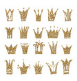 gold crown set isolated on white background vector image vector image