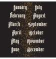 Gothic months vector image vector image