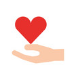 hand holding heart health care wellness concept vector image vector image