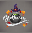 happy halloween greeting or invitation with hand vector image