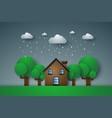 house in green field with rain paper art style vector image vector image