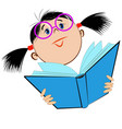 image of a girl in glasses holding an open book vector image vector image